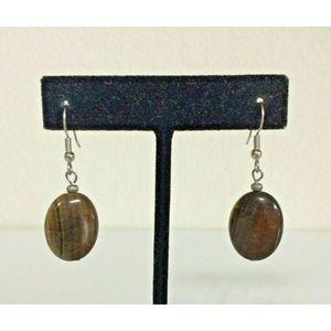 New Handmade Tigers Eye Oval Dangle Earrings
